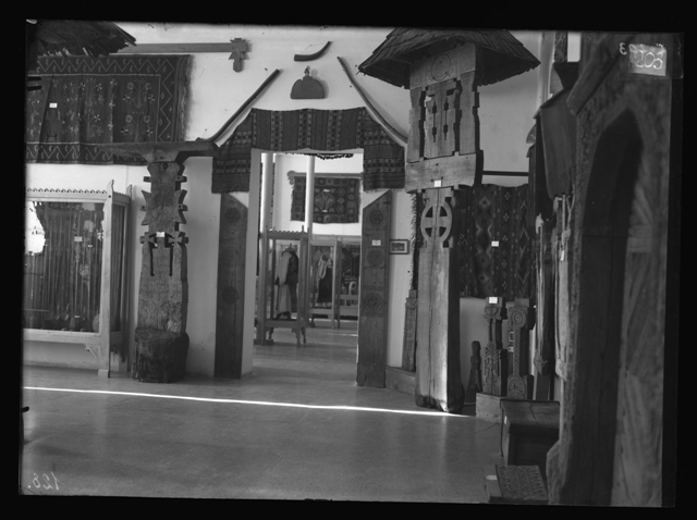 4. Exhibition in the Museum of Etnography, National Art, Decorative Art and Industrial Art in Bucharest, from The Ethnological Archive of The National Museum of the Romanian Peasant, Bucharest, glass plate negative, reference code CS-203 (between 1880 - 1945)