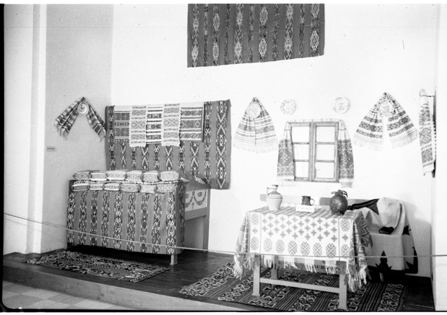 "The Museum of Folk Art, an indoor setting from Timișoara, Lugoj area, Timișoara region, 6 × 9 cm, registered on the 17th of November 1954. Photographer: Studio ""Stătescu"". Folk Art Museum (MAP) collection"